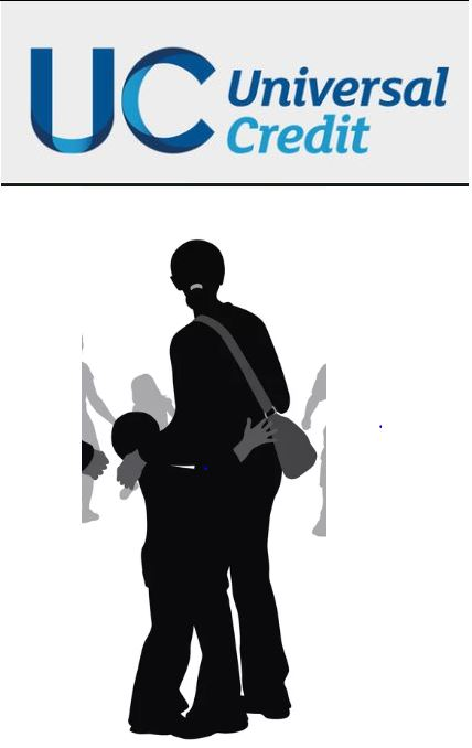 Artwork of mother and child under Universal Credit logo