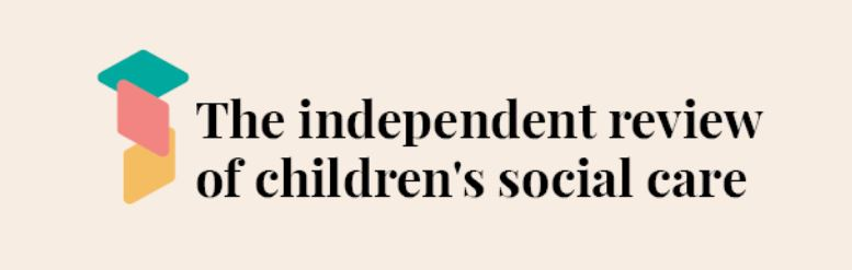Logo The independent review of children's social care.  Three colour diamond shapes.